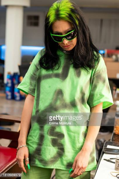 In this image released on April 22, host Melissa Villaseñor prepares to impersonate Billie Eilish for the 2021 Film Independent Spirit Awards at Post...