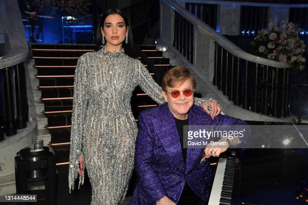 In this image released on April 25, Dua Lipa and Sir Elton John attend the 29th Annual Elton John AIDS Foundation Academy Awards Viewing Party on...