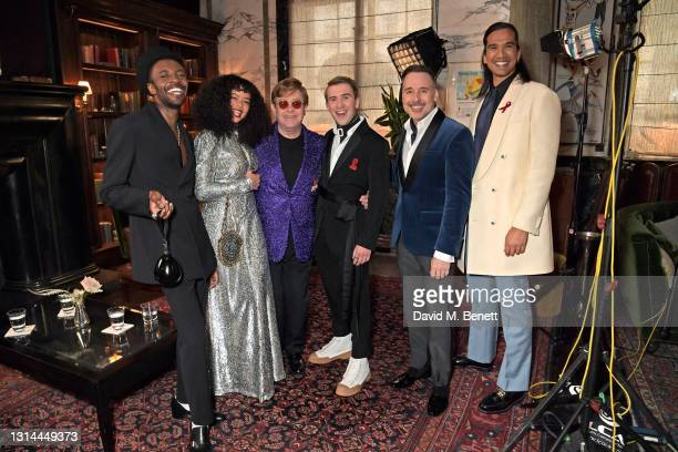 In this image released on April 25, Omari Douglas, Lydia West, Sir Elton John, David Furnish, Nathaniel Curtis and Callum Scott Howells attend the...