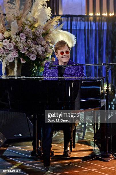 In this image released on April 25, Sir Elton John performs during the 29th Annual Elton John AIDS Foundation Academy Awards Viewing Party on April...