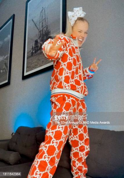 In this image released on April 8, JoJo Siwa attends The 32nd Annual GLAAD Media Awards broadcast on April 08, 2021.