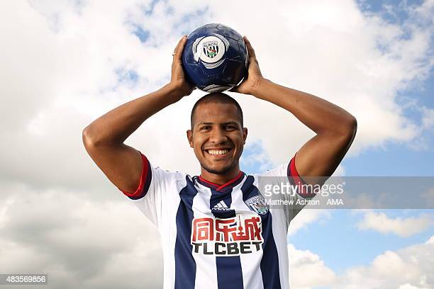 In this image released on August 10 Jose Salomon Rondon poses as he is unveiled by West Bromwich Albion at West Bromwich Albion Training Ground on...
