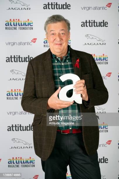 In this image released on December 1 Actor Stephen Fry poses with The Icon Award during the Virgin Atlantic Attitude Awards Powered By Jaguar...