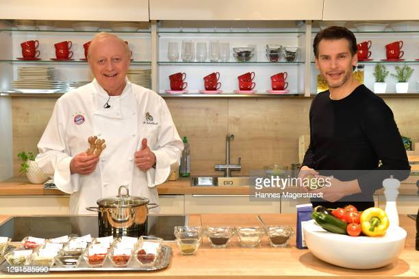 In this image released on December 16, Florian Odendahl and Alfons Schuhbeck host a live cooking show on November 28, 2020 at Moebel Hoeffner in...