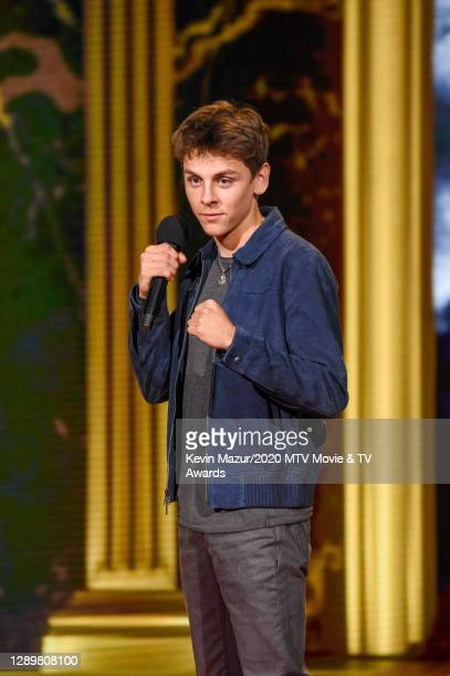 In this image released on December 6, Jacob Bertrand from Cobra Kai performs at the 2020 MTV Movie & TV Awards: Greatest Of All Time broadcast on...