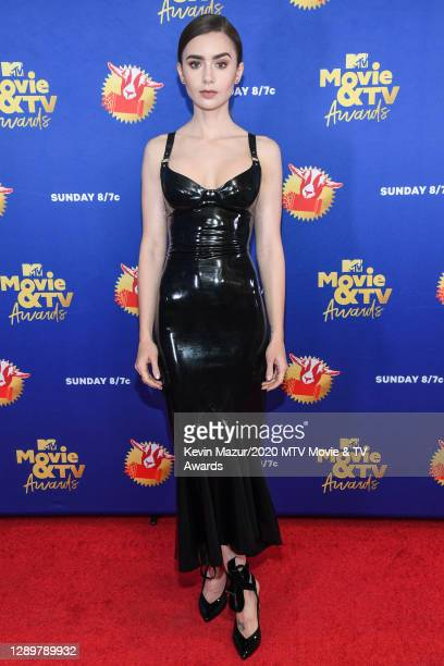 In this image released on December 6, Lily Collins attends the 2020 MTV Movie & TV Awards: Greatest Of All Time broadcast on December 6, 2020.