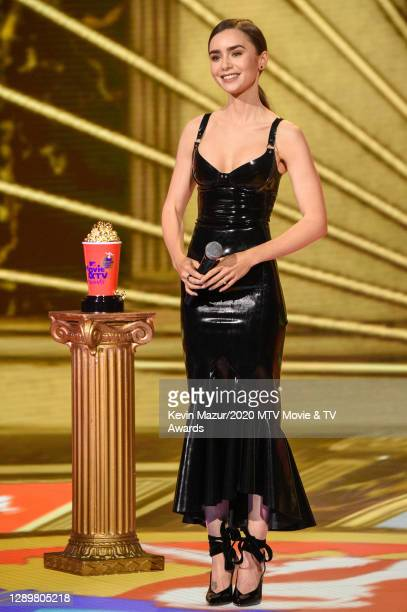 In this image released on December 6, Lily Collins performs at the 2020 MTV Movie & TV Awards: Greatest Of All Time broadcast on December 6, 2020.