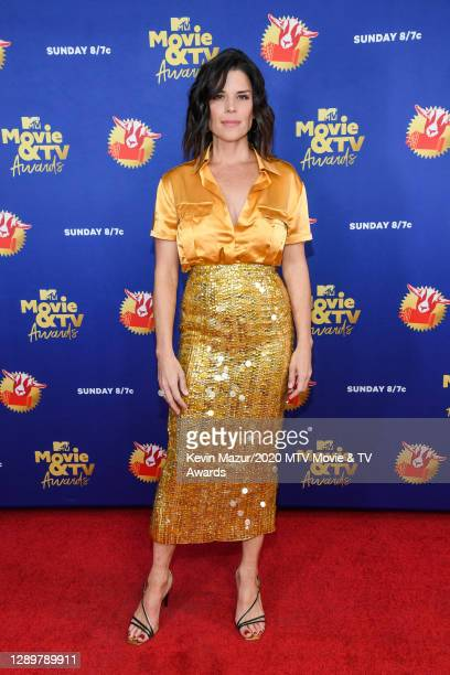 In this image released on December 6, Neve Campbell attends the 2020 MTV Movie & TV Awards: Greatest Of All Time broadcast on December 6, 2020.