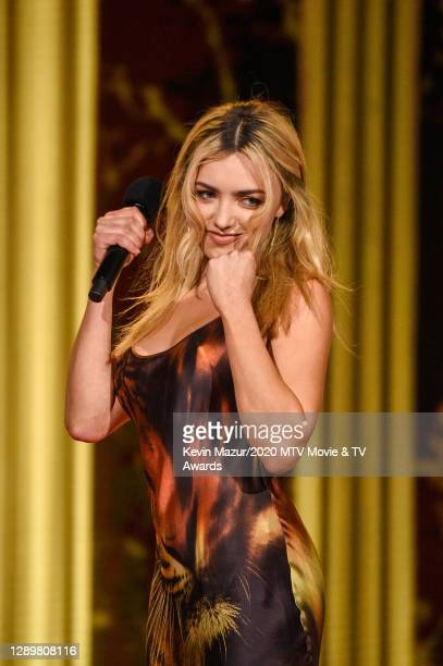 In this image released on December 6, Peyton List from Cobra Kai performs at the 2020 MTV Movie & TV Awards: Greatest Of All Time broadcast on...