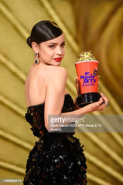 In this image released on December 6, Sofia Carson performs at the 2020 MTV Movie & TV Awards: Greatest Of All Time broadcast on December 6, 2020.