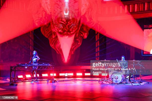 In this image released on December 6, Steve Aoki and Travis Barker perform at the 2020 MTV Movie & TV Awards: Greatest Of All Time broadcast on...