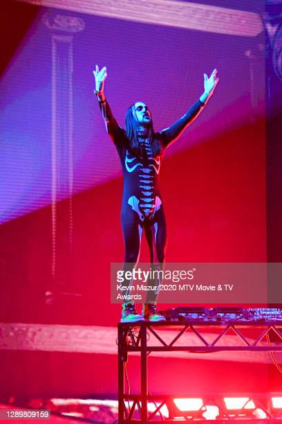 In this image released on December 6, Steve Aoki performs at the 2020 MTV Movie & TV Awards: Greatest Of All Time broadcast on December 6, 2020.