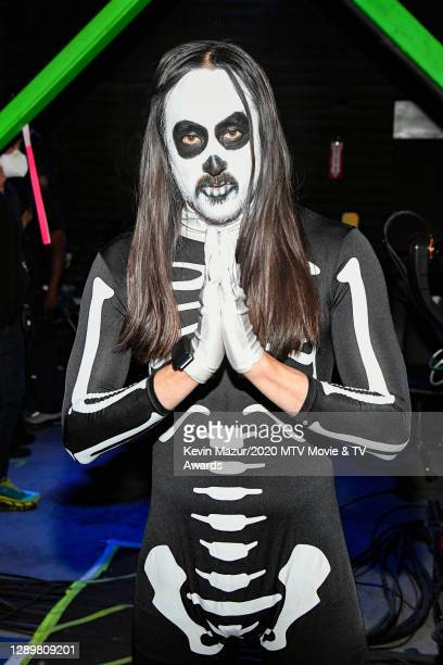 In this image released on December 6, Steve Aoki poses backstage at the 2020 MTV Movie & TV Awards: Greatest Of All Time broadcast on December 6,...