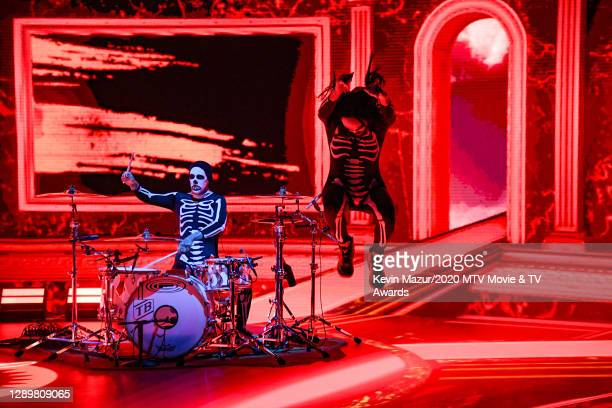 In this image released on December 6, Travis Barker and Steve Aoki perform at the 2020 MTV Movie & TV Awards: Greatest Of All Time broadcast on...