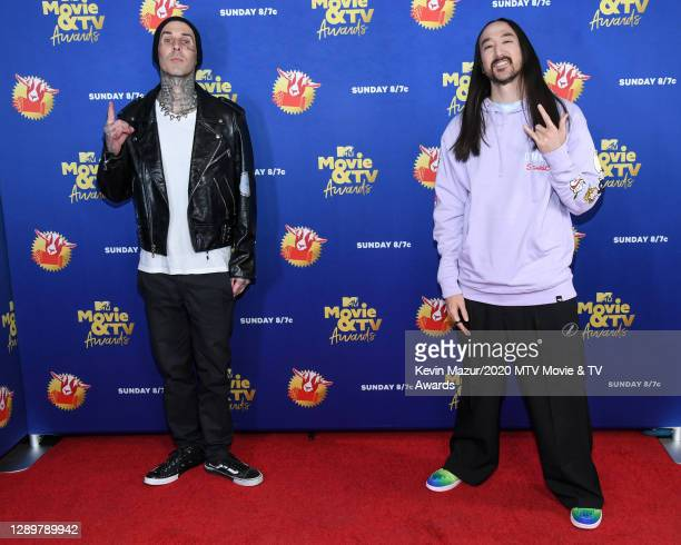 In this image released on December 6, Travis Barker and Steve Aoki attend the 2020 MTV Movie & TV Awards: Greatest Of All Time broadcast on December...