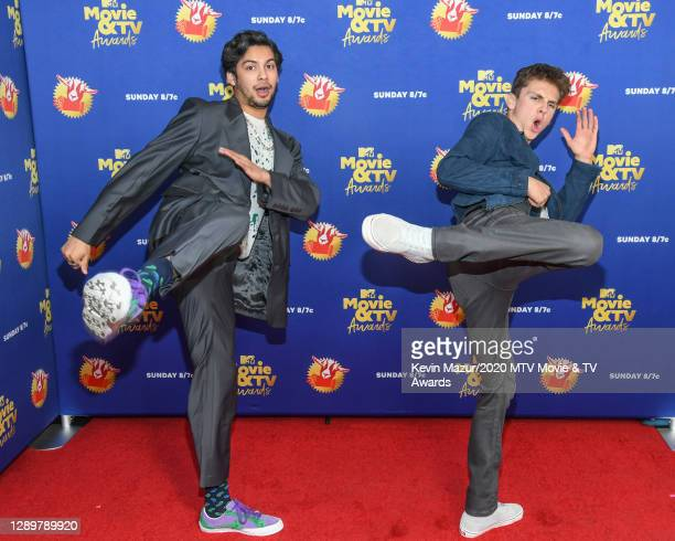 In this image released on December 6, Xolo Mariduena and Jacob Bertrand from Cobra Kai attends the 2020 MTV Movie & TV Awards: Greatest Of All Time...