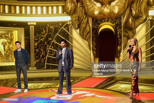 In this image released on December 6, Xolo Mariduena, Jacob Bertrand and Peyton List from Cobra Kai performs at the 2020 MTV Movie & TV Awards:...