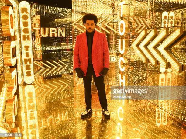 In this image released on February 7th, The Weeknd rehearses for the Super Bowl LV Halftime Show at Raymond James Stadium on February 04, 2021 in...