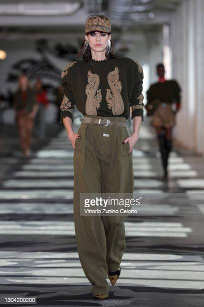 In this image released on February the 26th, a model walks the runway at the Etro Fashion Show during the Milan Fashion Week Fall/Winter 2021/2022 on...