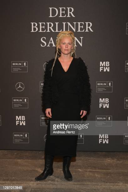 """In this image released on January 18, Karen Jessen poses during the """"Der Berliner Salon Group Presentation"""" at the Mercedes-Benz Fashion Week Berlin..."""