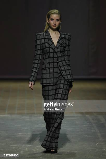 In this image released on January 19, Anna Hiltrop walks the runway at the Lana Mueller show during the Mercedes-Benz Fashion Week Berlin January...