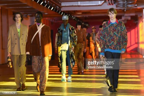In this image released on January the 17th, a model walks the runway at the Etro Fashion Show during the Milan Men's Fashion Week F/W 2021/2022 on...