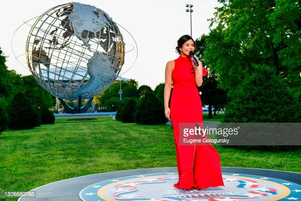 In this image released on July 02; Acclaimed actress and singer AuliÕi Cravalho performs from Unisphere in Queens, NY for A Capitol Fourth which airs...