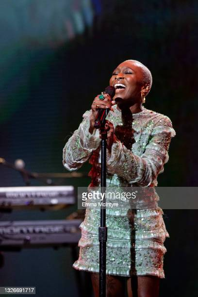 In this image released on July 02; Tony, Emmy, and Grammy winner and two-time Oscar nominee, Cynthia Erivo performs from Southern California for A...