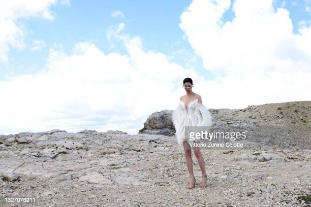 In this image released on July 5th, a model poses during Iris Van Herpen Haute Couture Fall/Winter 2021/2022 collection shooting as part of the Paris...