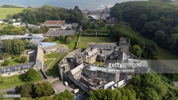 In this image released on June 17 an aerial view of St Donat's Castle, home to UWC Atlantic College, can be seen on June 14, 2021 in Vale of...