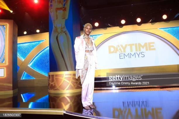 In this image released on June 25, Diamond White poses during the 48th Annual Daytime Emmy Awards broadcast on June 25, 2021.