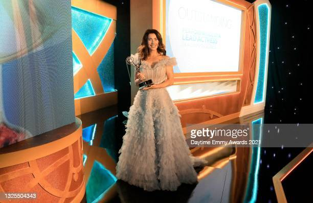 In this image released on June 25, Jacqueline MacInnes Wood poses with the award for Outstanding Performance by a Lead Actress in a Drama Series for...