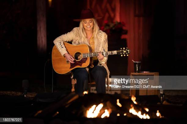In this image released on June 9th 2021, Miranda Lambert performs for the 2021 CMT Music Awards at Cedarwood Weddings in Nashville, Tennessee and...