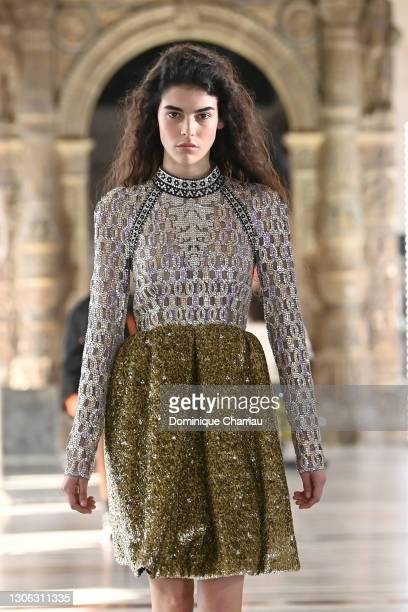 In this image released on March 10 st, a model walks the runway during the Louis Vuitton as part of the Paris Fashion Week Womenswear Fall/Winter...