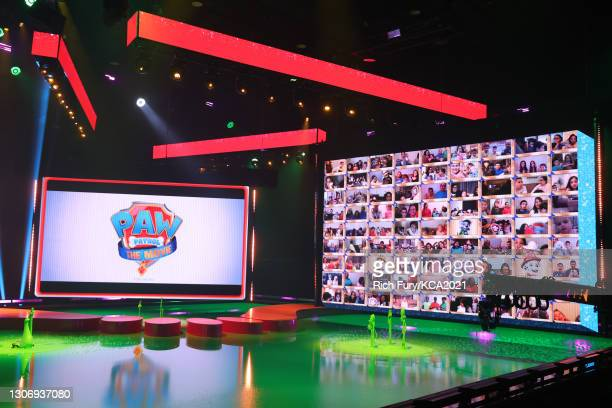 In this image released on March 13, a view of the virtual audience is seen onscreen during Nickelodeon's Kids' Choice Awards at Barker Hangar on...