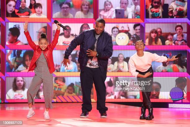 In this image released on March 13, Dannah Lane, host Kenan Thompson, and Dani Lane speak onstage during Nickelodeon's Kids' Choice Awards at Barker...