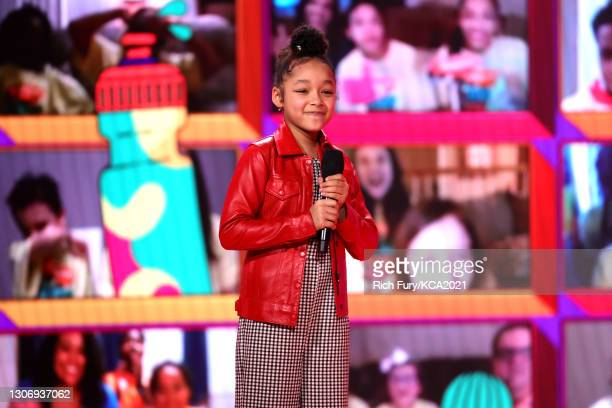 In this image released on March 13, Dannah Lane speaks onstage during Nickelodeon's Kids' Choice Awards at Barker Hangar on March 13, 2021 in Santa...