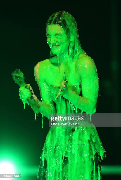 In this image released on March 13, Favorite Female Social Star Charli D'Amelio is slimed onstage during Nickelodeon's Kids' Choice Awards at Barker...