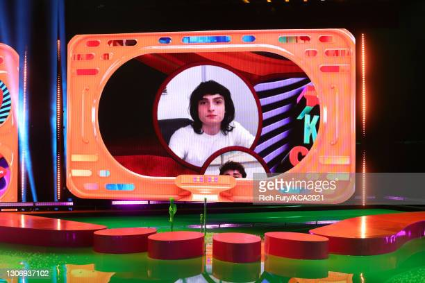In this image released on March 13, Finn Wolfhard, winner of Favorite Family TV Show for 'Stranger Things', is shown on screen during Nickelodeon's...