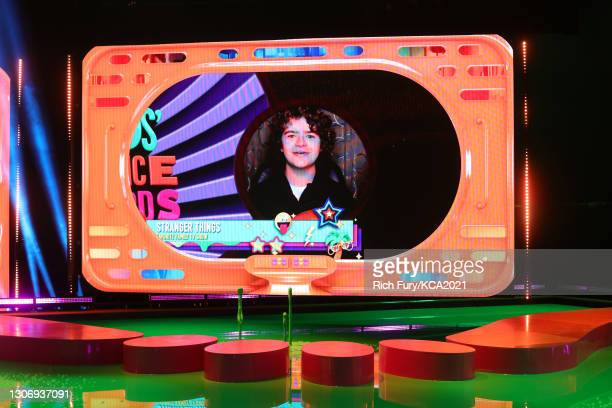 In this image released on March 13, Gaten Matarazzo, winner of Favorite Family TV Show for 'Stranger Things', is shown on screen during Nickelodeon's...