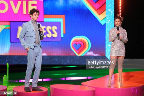 In this image released on March 13, Joshua Bassett and Addison Rae speak onstage during Nickelodeon's Kids' Choice Awards at Barker Hangar on March...