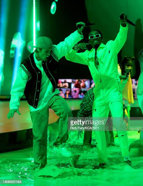 In this image released on March 13, Justin Bieber and Quavo perform onstage during Nickelodeon's Kids' Choice Awards at Barker Hangar on March 13,...
