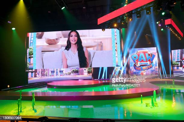 In this image released on March 13, Kim Kardashian is seen onscreen during Nickelodeon's Kids' Choice Awards at Barker Hangar on March 13, 2021 in...