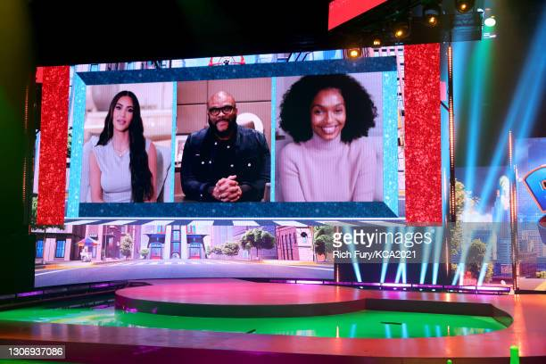 In this image released on March 13, Kim Kardashian, Tyler Perry and Yara Shahidi are seen onscreen during Nickelodeon's Kids' Choice Awards at Barker...