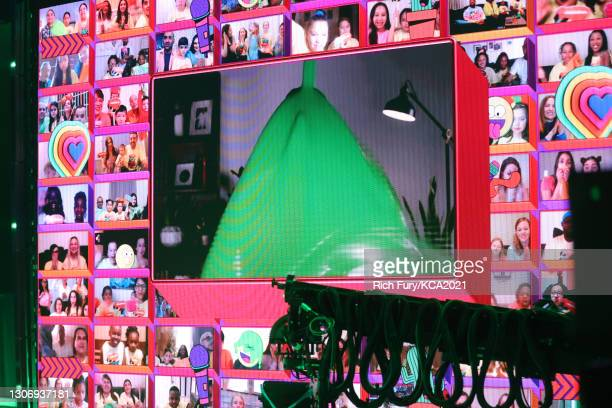 In this image released on March 13, Lin-Manuel Miranda is seen getting slimed onstage during Nickelodeon's Kids' Choice Awards at Barker Hangar on...