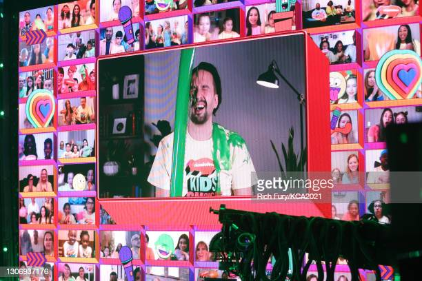 In this image released on March 13, Lin-Manuel Miranda, winner of Favorite Movie Actor for 'Hamilton', is seen getting slimed onstage during...