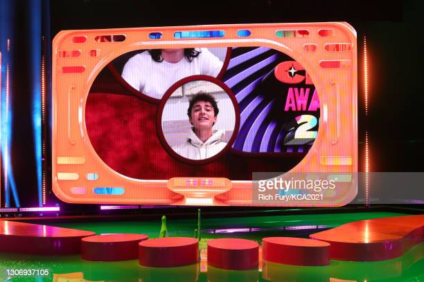 In this image released on March 13, Noah Schnapp, winner of Favorite Family TV Show for 'Stranger Things', is shown on screen during Nickelodeon's...