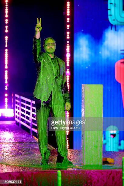 In this image released on March 13, Robert Downey Jr. Speaks onstage during Nickelodeon's Kids' Choice Awards at Barker Hangar on March 13, 2021 in...