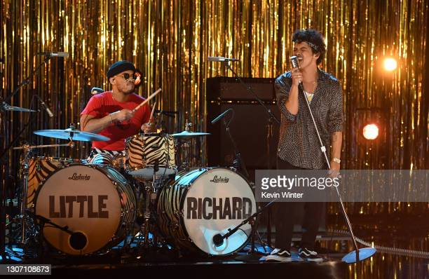 In this image released on March 14, Anderson .Paak and Bruno Mars perform onstage during the 63rd Annual GRAMMY Awards at Los Angeles Convention...