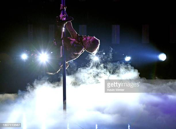 In this image released on March 14, Cardi B performs onstage during the 63rd Annual GRAMMY Awards at Los Angeles Convention Center in Los Angeles,...